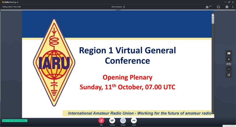 IARU Virtual General Conference—1st Day